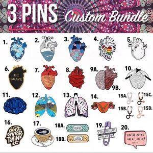3 PINS Custom Bundle Science Lapel Pins NWT Nurse